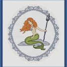 Cross-Stitch Embroidery Color Digital Pattern w. DMC codes - Ariel the Mermaid