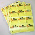 24 Generic Oil Change Service Stickers, HQ Yellow Lotac Low Tack Removable Vinyl