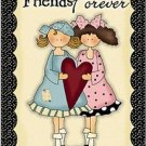 Primitive Country Folk Art Kitchen Refrigerator Magnet - Friends Forever