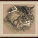 Cross-Stitch Embroidery Color Pattern with DMC codes -  Beautiful Persian Cat