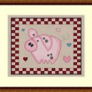 Cross-Stitch Embroidery Color Digital Pattern w. DMC codes - Country Pig