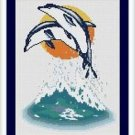 Cross-Stitch Embroidery Color Pattern with DMC codes - Beautiful Dolphins