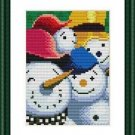 Cross-Stitch Embroidery Color Pattern with DMC codes - Happy Snowman Family