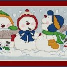 Cross-Stitch Embroidery Color Pattern with DMC thread codes -Happy Snow Family