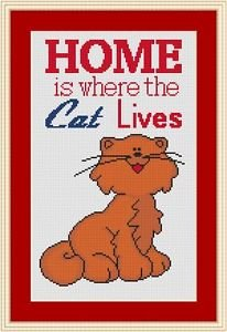 Cross-Stitch Embroidery Color Pattern with DMC codes - Home is where the cat ...