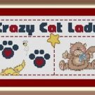 Cross-Stitch Embroidery Color Pattern with DMC thread codes - Crazy Cat Lady