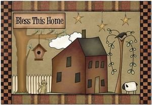Primitive Country Folk Art Kitchen Refrigerator Magnet - Bless This Home #4