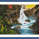 Cross-Stitch Embroidery Color Pattern with DMC thread codes - Summer Waterfall