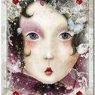 Primitive Country Folk Art Kitchen Refrigerator Magnet ~ Fantasy Card Ladies