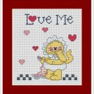 Cross-Stitch Embroidery Color Pattern with DMC codes - Love Me Cat Family #4