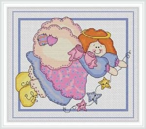 Cross-Stitch Embroidery Color Pattern with DMC codes - Cute Patchwork Angel #2