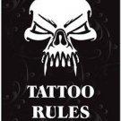 Beautiful Decor Collectible Kitchen Fridge Magnet - Tattoo Rules Skull Design