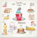 Primitive Country Folk Art Kitchen Refrigerator Magnet - Cupcake Recipe