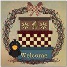 Beautiful Prim Decor Collectible Kitchen Fridge Magnet - Country Life Wreath