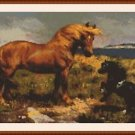 Cross-Stitch Embroidery Color PATTERN with DMC thread codes - Mom & Baby Horse