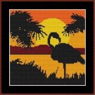 Cross-Stitch Color Embroidery Pattern with DMC codes - Sunset Flamingo