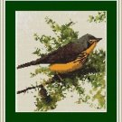 Cross-Stitch Embroidery Color Pattern with DMC codes - Little Yellow Bird