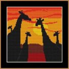 Cross-Stitch Color Embroidery Pattern with DMC codes - Sunset Giraffes