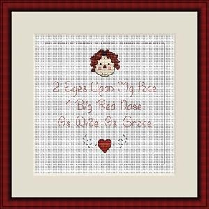 Cross-Stitch Embroidery Color Digital Pattern w. DMC codes - Rageddy Ann
