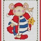 Cross-Stitch Embroidery Color Pattern with DMC thread codes - Christmas Mouse #2