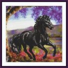 Cross-Stitch Embroidery Color PATTERN with DMC thread codes - Spring Horse