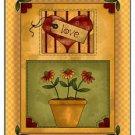 Primitive Country Folk Art Kitchen Refrigerator Magnet - Love Dasies