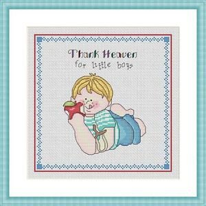 Cross-Stitch Embroidery Color Digital Pattern w. DMC codes - Thank Heaven #3