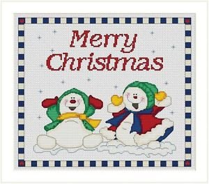Cross-Stitch Embroidery Color Pattern with DMC codes - Merry Christmas Snowmen