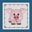 Cross-Stitch Embroidery Color Pattern with DMC codes - Cute Baby Piglet