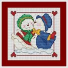 Cross-Stitch Embroidery Color Pattern with DMC codes - Love Snowmen #2