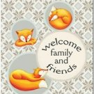 Beautiful Cute Decor Collectible Kitchen Fridge Magnet - Fox Family Welcome