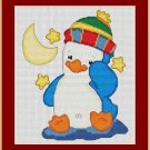 Cross-Stitch Embroidery Color Pattern with DMC thread codes - Sleepy Penguin