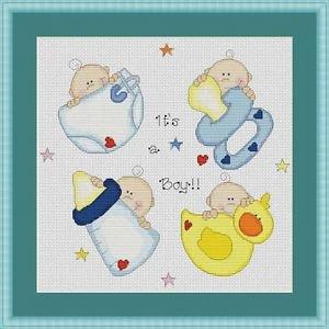 Cross-Stitch Embroidery Color Digital Pattern w. DMC codes - It's a Boy! #2