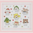 Cross-Stitch Embroidery Color Pattern with DMC codes - Happy Days of the Week