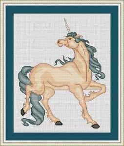 Cross-Stitch Embroidery Color Pattern with DMC codes - Beautiful Unicorn