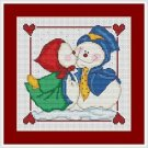 Cross-Stitch Embroidery Color Pattern with DMC codes - Love Snowmen