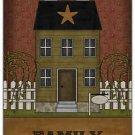 Primitive Country Folk Art Kitchen Refrigerator Magnet - Prim House - Family