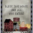 Primitive Country Folk Art Kitchen Refrigerator Magnet - Bless This House