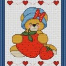 Cross-Stitch Embroidery Color Pattern with DMC codes - Strawberry Teddy Girl