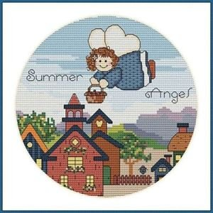 Cross-Stitch Embroidery Color Pattern with DMC codes - Cute Summer Angel