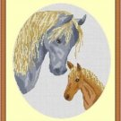 Cross-Stitch Embroidery Color Pattern with DMC codes - Mother and Baby Horses