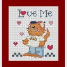Cross-Stitch Embroidery Color Pattern with DMC codes - Love Me Cat Family #3