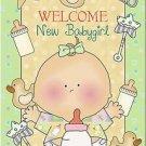 Primitive Country Folk Art Kitchen Refrigerator Magnet - Welcome New Babygirl!
