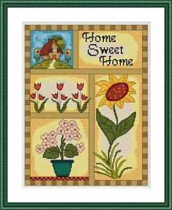 Cross-Stitch Embroidery Color Pattern with DMC thread codes -Home Sweet Home #2