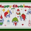 Cross-Stitch Embroidery Color Pattern with DMC thread codes - Happy Christmas!