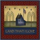 Primitive Country Folk Art Kitchen Refrigerator Magnet - Land That I Love #3