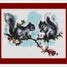 Cross-Stitch Embroidery Color Pattern with DMC codes - Two Cute Baby Squirrels