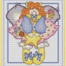 Cross-Stitch Embroidery Color Pattern with DMC codes - Cute Patchwork Angel