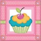 Primitive Country Folk Art Kitchen Refrigerator Magnet - Sweet Cherry Cupcake