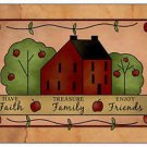 Primitive Country Folk Art Kitchen Refrigerator Magnet -Prim Faith Family Friend